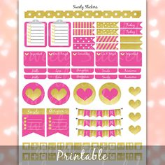 Pink and Gold Planner Stickers  Printable Planner Stickers for Erin Condren Planners - Instant Digital Download PDF (2.97 USD) by SweetyStickers