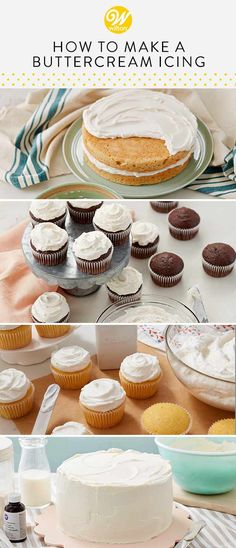 Whip up your own delicious homemade buttercream frosting with this classic, quick and easy recipe! This recipe makes 2 cups of frosting, enough to frost 24 cupcakes. How To Make Frosting, Homemade Frosting, Frosting Recipes, Homemade Cakes, How To Make Cake, Wilton Buttercream Frosting, Cupcake Icing, Cupcake Cakes, Cupcakes