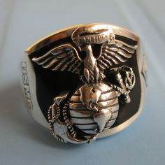 marine corps rings | Fashion hiphop ring normic 925 pure silver marine corps silver ring ...