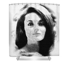"""Celeste Yarnall 2 Shower Curtain by Eman Allam.  This shower curtain is made from 100% polyester fabric and includes 12 holes at the top of the curtain for simple hanging.  The total dimensions of the shower curtain are 71"""" wide x 74"""" tall."""