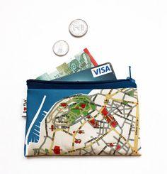 TEL AVIV JAFFA map wallet / coin purse / hebrew by efratul on Etsy