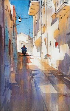 Patterns of Light - Spain. Thomas W Schaller. Watercolor City, Watercolor Landscape Paintings, Watercolor Artists, Painting Abstract, Acrylic Paintings, Landscape Art, Travel Illustration, Watercolor Illustration, Art Thomas