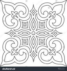 Geometric Islamic Pattern Arabesque grey and white.