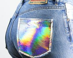 I'll buy some holo fabric and do this to a pair of jeans/shorts i have