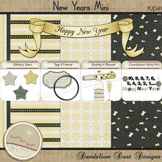 Digital Scrapbooking New Years Mini Kit #DandelionDustDesigns #DigitalScrapbooking