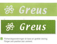 Äppelgrön bandfärg och vit textfärg http://labelsandribbon.se/vavda-namnband-namnlappar-etiketter/standard