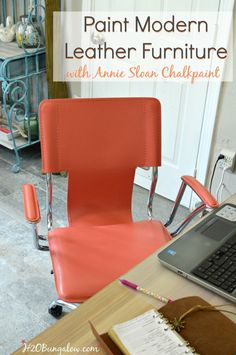 I blended Annie Sloan Chalk Paint colors to make a beautifiul shade of coral and transformed a red leather contemporary office chair into a beautiful vibrant coral color. See my post for the recipe and tutorial on painting leather and leather prep H2OBungalow #paintedfurniture #contemporaryfurniture