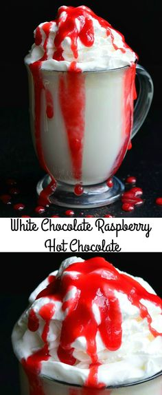 White Chocolate Raspberry Halloween Hot Chocolate | from willcookforsmiles.com #drink #chocolate #hotdrink