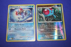 2 Pokemon Cards - Tentacool and Tentacruel by LiveLoveCraftDesignz on Etsy Tentacle, Pokemon Cards, Mystery, Crystals, Etsy, Pokemon Trading Card