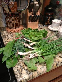 Kale, beet tops, swiss chard and green onions from the garden for stir fry!  http://www.sueseward.com