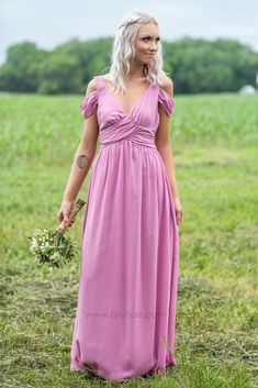 Long Off Shoulder Pink Bridesmaid Dress for Country Wedding