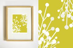 Botanical Illustration Wall Art  Mustard Yellow by RetroMenagerie, $20.00