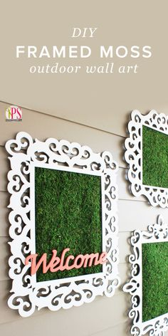 When decorating outdoor spaces, many overlook a perfect blank slate for adding a splash of style: the walls! Today we're sharing how to make quick and easy outdoor wall decor with empty frames and a roll of decorative moss.