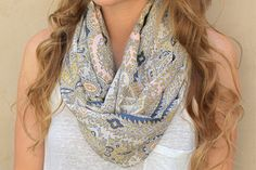 Silk Infinity Scarf, Circle Scarf, Eternity Scarf, Peach, Grey, Yellow, Cream. $30.00, via Etsy.