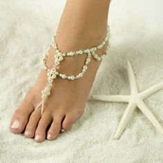 Starfish and Sea Shell, Barefoot Sandals, Foot Jewelry for Beach Bride and Bridesmaids, Wedding Sand Foot Jewelry Wedding, Beach Foot Jewelry, Beach Wedding Sandals, Bridal Jewelry, Beach Sandals, Feet Jewelry, Wedding Beach, Trendy Wedding, Beach Feet