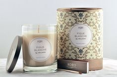 Figue Blanche Candle design by Kobo Candles Scented Candles, Pillar Candles, Candle Jars, Candle Gifts, Candle Store, Candles Online, Candle Packaging, Aromatherapy Candles, Candle Making