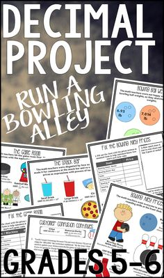 Decimal Project: Math teachers are vandalizing the bowling alley by changing prices into math problems. Your students will enjoy practicing decimal place value, powers of ten, decimal forms, operations with decimals, and unit rate problems while trying to help their uncle's bowling alley.