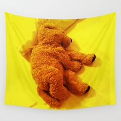Teddy dog Wall Tapestry by azima Wall Tapestries, Tapestry, Hand Sewn, Vivid Colors, Duvet Covers, Crisp, Dinosaur Stuffed Animal, Teddy Bear