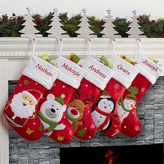Create a warm welcome for Santa with our festive Santa Claus Lane Personalized Stocking Collection! Santa is sure to know whose is whose, with each family members name artfully embroidered in your choice of red or green thread across the top. Choose from five classic holiday