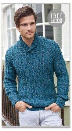 Pullover with a chalice collar and various skins Knitting Designs, Knitting Patterns, Sweater Jacket, Men Sweater, Cocoon Cardigan, Pulls, Hand Knitting, Knitwear, Knit Crochet