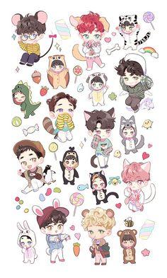 Chibi Bts Wallpapers Wallpaper Cave for Exo Cartoon Wallpapers Hd Chibi Exo, Anime Chibi, Chibi Wallpaper, Cartoon Wallpaper Hd, Kpop Exo, Exo Cartoon, Exo Stickers, Exo Anime, Exo Lockscreen