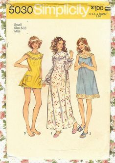 Simplicity 5030 Misses Baby Doll Pajamas Nightgown Pattern Womens Vintage Sewing Pattern Size Medium Bust 34 36 or Large Pyjamas, Baby Doll Pajamas, Womens Nighties, Nightgowns For Women, Simplicity Sewing Patterns, Vintage Sewing Patterns, Mode Vintage, Vintage 70s, Vintage Ideas