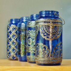 Azure Blue Glass Moroccan Jar Lantern with Dark Pewter Detailing