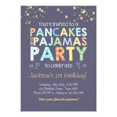 Pancake and Pajamas birthday invitation Boy Blue