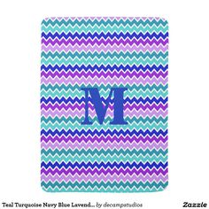 Teal Turquoise Navy Blue Lavender Purple Chevron Stroller Blanket