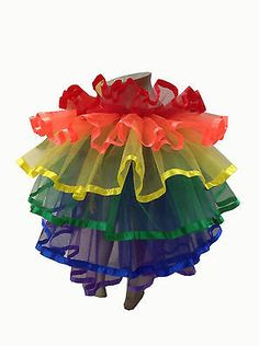 Rainbow TuTu Tail Ruffle GAY PRIDE DIVA SHOWGIRL BURLESQUE Moulin Rouge costume