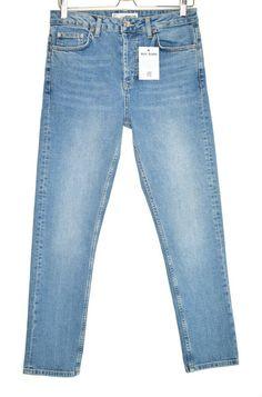BNWT Topshop Mid Blue Super Ripped Knee Jamie Jeans Size W32 L30 UK 14