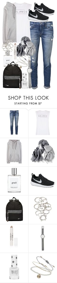 """""""Outfit for travelling"""" by ferned ❤ liked on Polyvore featuring Joe's Jeans, good hYOUman, T By Alexander Wang, philosophy, NIKE, Forever 21, Topshop and Witchery"""