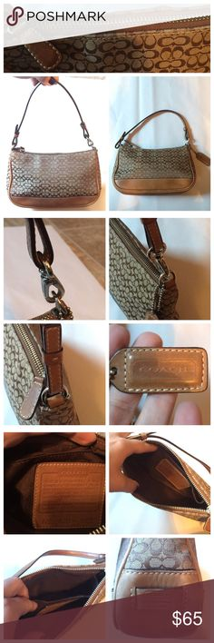 COACH Classic Mini C Signature Demi Bag This bag is in EUC. There are no stains or markings on the interior of the bag. Zipper is in perfect condition. Inside of bag has a pocket. Leather has signs of wear on the bottom of the bag, which is shown in my pictures. Besides those scuffs (which can be treated with leather cleaner), there are no visible signs of wear. Bag is clean and has no odor. It's been stored with my other bags in dust bags. Trying to downsize my closet. This is a great buy…