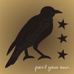 crow Stencil Templates, Stencil Designs, Stencils, Primitive Patterns, Primitive Crafts, Primitive Signs, Crow Images, Primitive Painting, Raven Art