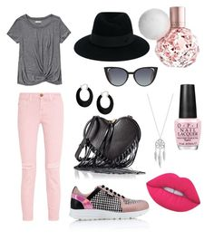 """""""Pink-black"""" by gital ❤ liked on Polyvore featuring Karl Lagerfeld, Current/Elliott, Abercrombie & Fitch, Rebecca Minkoff, Maison Michel, Fendi, Bling Jewelry, Lucky Brand, Lime Crime and OPI"""