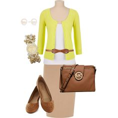 Spring day outfit for work: yellow and brown!
