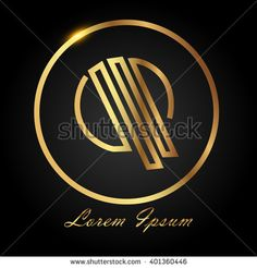 Q golden initial circle logo for company - stock vector