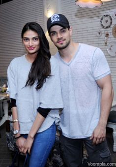 Cute! Sooraj Pancholi and Athiya Shetty. via Voompla.com