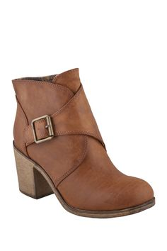 """Offwego Ankle Wrap Boot in tan by ZIGI $60 - $38 @HauteLook. Also available in black. - Round toe - Wrap front with buckle strap closure - Zip side closure - Approx. 4"""" shaft height - Approx. 3"""" heel - Synthetic upper and sole"""