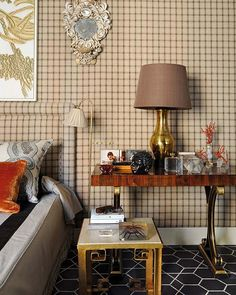 Plaid walls. This would be great in a man's room or a study.