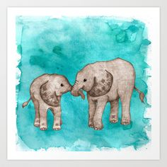 Baby Elephant Love - sepia on watercolor teal Art Print by Perrin Le Feuvre - $16.00