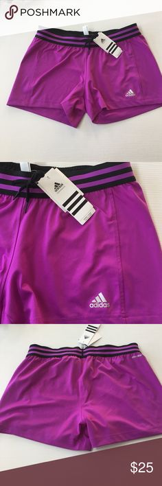 Adidas Shorts Brand new with tags authentic Adidas shorts. Bright purple color with black contrasting waistband and drawstring. Materials are made for performance! Adidas Shorts