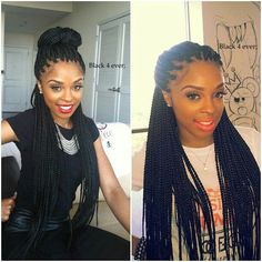 BOX BRAIDS / PONYTAIL / HAIRSTYLE / HAIR / DOOKIE BRAIDS / PROTECTIVE HAIRSTYLE / POETIC JUSTICE BRAIDS / BUN