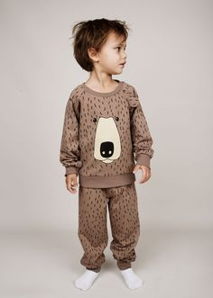 Mini Rodini AW14 Quel Carrousel! Sweatshirt with Bear print. Rib at cuff, neckhole and bottom. Press buttons at shoulder in size 56/62-68/74. Ears at chest. Composition: 95% Organic Cotton 5% Elastane. GOTS certified.
