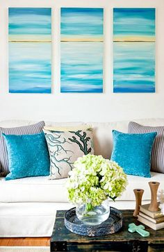 Gorgeous DIY ocean beach art above the sofa. Learn how you can do it here: http://beachblissliving.com/diy-ocean-canvas-art-tutorial/