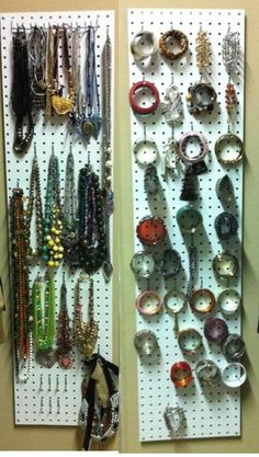 Organized necklaces and bracelets using pegboard. Not the cutest, but possibly the cheapest (could spray paint).