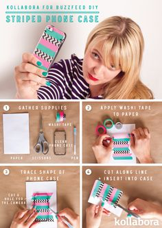 Striped Phone or iPod Case DIY With Washi Tape.