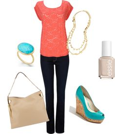 Coral and Turquoise, created by mollye-spaulding on Polyvore