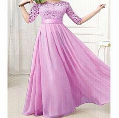 NativeAfrika: Sexy Half Sleeve Purple Lace Maxi Long Dress