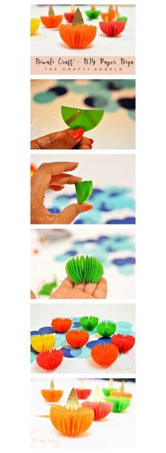 Easy and simple diwali craft tutorial to make diwali paper diya as diwali decoration: DIY Paper Diwali Lantern Step By Step: Marigold Flower with Crepe Paper: DIY TIssue Paper Diwali Lantern Step By Step:. Diya Decoration Ideas, Diwali Decorations At Home, Kids Party Decorations, Ganpati Decoration At Home, Wedding Decorations, Quince Decorations, Decor Ideas, Kids Decor, Craft Ideas